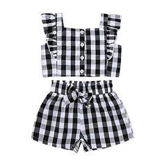 Kid Baby Girl/'s Summer Printemps élégant OFF épaule Haut Et Déchiré Jeans Set
