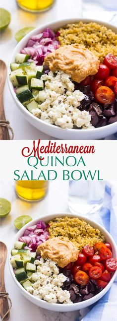 Mediterranean Diet Plan This Mediterranean Quinoa Salad Bowl is loaded with delicious and filling veggies, topped with creamy hummus and comes together in just 20 minutes! Mediterranean Quinoa Salad, Mediterranean Diet Recipes, Whole Food Recipes, Cooking Recipes, Healthy Snacks, Healthy Eating, Clean Eating, Vegetarian Recipes, Healthy Recipes