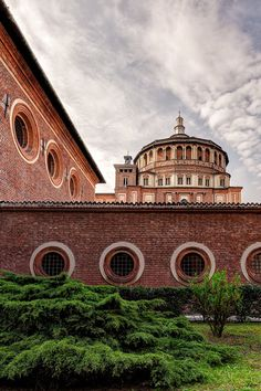 Outside the walls of Santa Maria delle Grazie in Milan, Italy