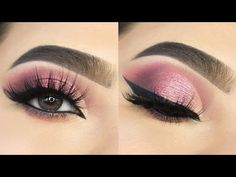 Soft Glitter Pink Cut Crease eye Makeup || How to CUT CREASE || Detail Eye Makeup Tutorial || Shilpa - YouTube