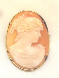 Vintage Large Carved Curved Shell Cameo Pin by bitzofglitz4u