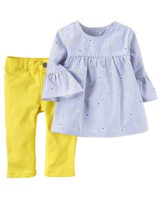 Fun and colorful, this sweet set features an embroidered top and twill pants for all-day style and comfort.
