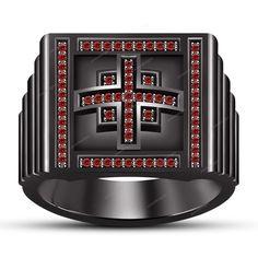14K Black Gold Finish 0.30 Carat Round Red Garnet Men's Band Ring Size 7 To 14 #aonedesigns #MensEngagementRing