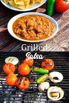 Fire-roasted salsa recipe grills garden fresh tomatoes, jalapenos, onions, garlic, and cilantro for a flame-grilled salsa recipe that is outrageously good. #Salsa #BGE #Grilled #FireRoasted #MexicanFood Green Egg Recipes, Fresh Tomato Recipes, Vegetable Recipes, Easy Dinner Recipes, Summer Recipes, Breakfast Recipes, Easy Meals, Best Mexican Recipes, New Recipes
