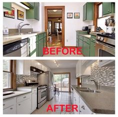 Before and after: kitchen with white cabinets and backsplash