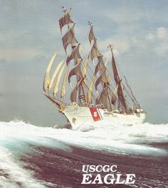"US Coast Guard Barque ""Eagle"" full & Bye with a bone in her teeth"