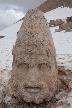 Giant head on the west terrace of #Nemrut Mountain, SE #Turkey