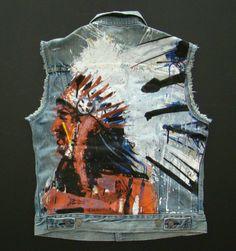 Nwt Denim & Supply Ralph Lauren Blue Denim Indian Painted Chief Trucker Vest #DenimSupplyRalphLauren