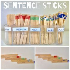 Using popsicle or craft sticks make learning more fun.(See ideas here) These sentence sticks work great to teach the parts of a sentence/speech: verbs, nouns, Adverb Activities, English Activities, Kids Learning Activities, Writing Activities, Classroom Activities, Verb Activity, Adjective Games, Literacy Games, English Games