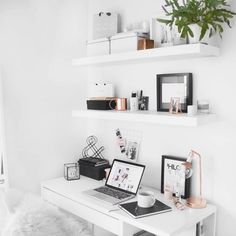 Minimal desk, ikea floating shelves with rose gold detail. Adding floating shelves and adding some greenery would brighten up any small space.