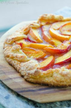 Fresh Peach Crostata.  Vegans sub out the heavy cream.  Oh my!