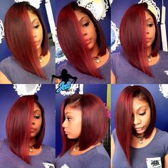35 Red Hair Color for American Women!Red hair color is very popular for many years. A girl with red hair will never go unnoticed. Weave Hairstyles, Girl Hairstyles, Natural Hair Styles, Short Hair Styles, Bob Styles, Bobe, Hair Laid, Red Hair Color, Love Hair