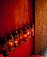 love the lanterns - a lit up in red