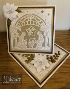 Angela Clerehugh - Die'sire Create A Card – O'Holy Night - Centura Pearl Card, Kraft Card, Distress Ink (Vintage Photo), Die'sire Poinsettia Die, Die'sire Ivy Die, Embossalicious Folder – Merry Christmas, Collall Tacky Glue, Crafter's Companion Tape Pen, Stick It, Collall 3D Glue Gel, Rhinestone Gems - #crafterscompanion #Christmas