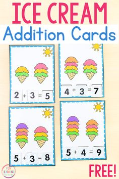 A fun ice cream theme addition to ten math activity for kids to use in math centers or at home. Even comes with printable number tiles! Counting Activities For Preschoolers, Kindergarten Math Activities, Educational Activities For Kids, Fun Math Games, Fun Learning, Preschool Math, Teaching Math, Math Concepts, Classroom Themes