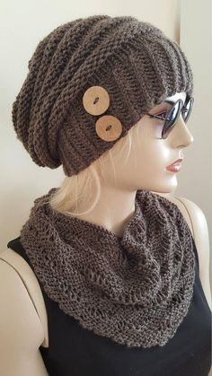 Items similar to knitted hat for women, hand knitted hat, winter knitted hat, drawstring, buttoned hat on Etsy Chunky Crochet Hat, Crochet Cap, Knitted Headband, Knitted Hats, Slouchy Hat, Knit Beanie, Hand Knitting, Knitting Patterns, Diy Crafts Crochet