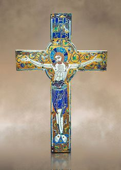 Medieval enamelled crucifix, end of the 12th century from Limoges, enamel on gold. AD. Inv OA 7284, The Louvre Museum, Paris. | Photos Gallery