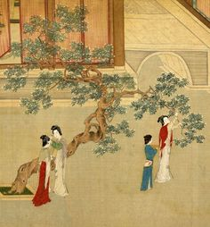 Ladies pluck flowers to decorate their hair. Spring arrives in royal palace, ink painting by Ming Dynasty artist Qiu Ying - Chinese Artwork, Chinese Painting, Ink Painting, Watercolor Paintings, Art Chinois, Palette Art, Art Asiatique, Art Japonais, China Art