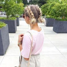 Double dutch braid into buns, hairstyle for summer. Double dutch braid into buns, hairstyle for summer. Summer Hairstyles, Double dutch braid into buns, hairstyle for summer. Pretty Hairstyles, Girl Hairstyles, Hairstyle Ideas, Braided Hairstyles For Short Hair, Braids For Short Hair, French Braid Short Hair, Wedding Hairstyles, Heatless Hairstyles, Updo Hairstyle