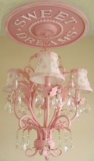 "Ella Chandelier custom painted in Pink. 18"" Sweet Dreams Ceiling Medallion by Marie Ricci, shown in distressed pink. Ceiling Medallion $145 / Chandelier $350 / Pink petal shades $160 Available at www.mariericci.com $655"