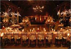 Lighting, black chairs, white table cloths