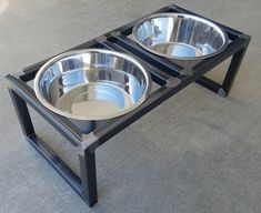 This handcrafted pet feeder elevates your pet's food/water to a more comfortable level. It features 2 removable stainless steel bowls of 5 quart capacity. The frame is fully welded and has a clear coat. Dog Bowl Stand, Pet Feeder, Dog Bowls, Metal, Your Pet, Kitty Cats, Kitchen, Furniture, Ideas