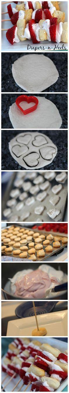 Heart Strawberry Shortcake Skewers - madewithHAPPY.com - Strawberry Shortcake