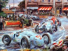 Vintage Cars and Racing Scene, Automotive Art of Vaclav Zapadlik - Vintage Car Racing Scene, Vintage Car Paintings Wallpaper 6 Classic European Cars, Classic Race Cars, Auto Illustration, Old Race Cars, Car Posters, Vintage Race Car, Car Drawings, Automotive Art, Car Painting