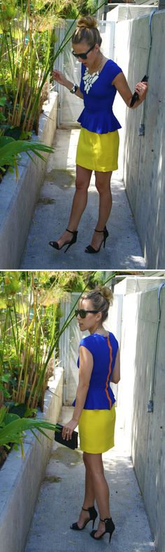 cute colorblocking. royal blue peplum top from lulus.com ($32) with H yellow skirt.