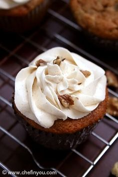 Eggless Banana Cupcakes (muffins, IMO) with Honey Cinnamon Frosting. Delicious with or without the frosting. If you go the sweet route, be warned it needed probably twice as much honey or more to form a glaze with the sugar. I just kept drizzling until it worked. ;-)