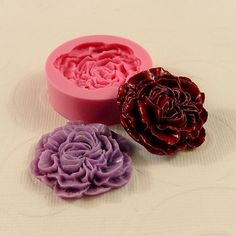 Carnation Peony Cabochon Mold Flexible Silicone Mold/Mould (32mm) for Crafts, Jewelry, Scrapbooking, (wax, resin, pmc, polymer clay) (214)