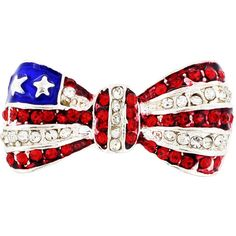 Silvertone Red/ White Crystal American Flag Bow Pin ($16) ❤ liked on Polyvore featuring jewelry, brooches, accessories, patriotic, blue, red brooch, crystal jewelry, crystal brooch, swarovski crystal jewellery and blue jewelry