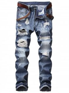 e605ce576b72e2 Bleached Effect Straight Leg Distressed Jeans  MensJeans Denim Skinny Jeans