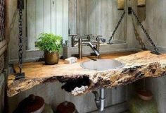 Reuse Idea: Fallen Tree? New Deco Bathroom Sink Counter
