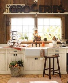 Shelf and curtain sink-Home Office Gallery & Home Office Design Gallery | Pottery Barn