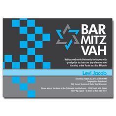 Checkered Blue Bar Mitzvah Invitation