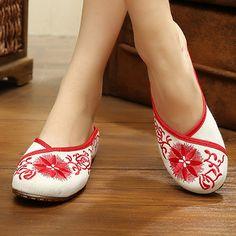 Flower Embroidery Retro National Wind Open Heel Slip On Flat Slippers