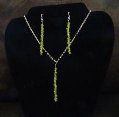 Peridot Pendant Necklace and Earrings Jewelry Set - August Birthstone - Genuine Natural Gemstone - Minimalist Jewelry by PrayerAndSparkle on Etsy