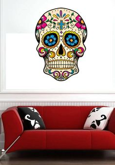 Sugar Skull  Vinyl Wall Decal Full Color Sticker by uBerDecals