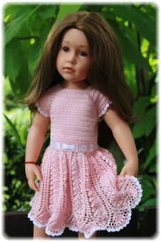 Free crochet pattern for lacey dress for Gotz Hannah