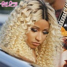 Two Tones 1b to 613 blonde ombre full lace human hair wig curly middle part…