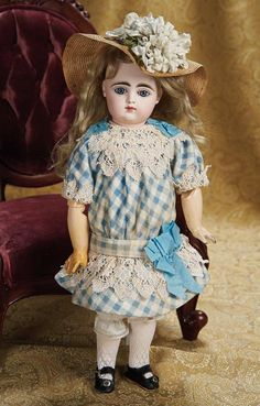 "17"" (43 cm.) French Bisque  Bebe by Gaultier Original Bambin Body, Costume 2500/3500"