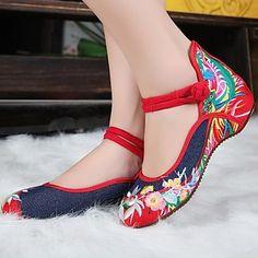 zapatos de las mujeres de edad mary jane pekín pisos demin talón plano con bordado suave únicos zapatos casuales - EUR € 17.18