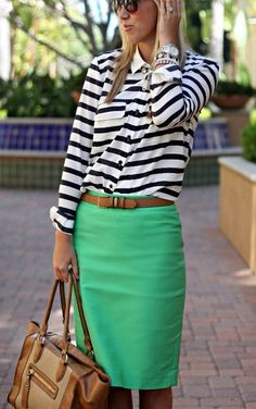 green pencil skirt and striped top. Love this. Could also see coral skirt with white top with black polka dots!