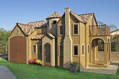 """Playing house just got a lot more expensive. """"The California Charmer"""" measures 300 square feet and includes a faux fireplace, air conditioning, electricity and a garage space. (Credit: Lilliput Play Homes)"""