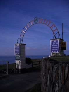 Cliff Hotel sign entrance, Gwbert Wales