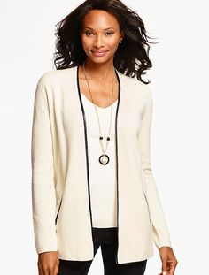 Faux Leather-Trimmed Milano Sweater Jacket - Talbots