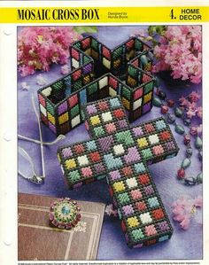 Easy and inexpensive mosaic crosses kids can make to give as gifts for Easter or Mother's Day Plastic Canvas Ornaments, Plastic Canvas Christmas, Plastic Canvas Crafts, Plastic Canvas Patterns, Faith Crafts, Mosaic Crosses, Plastic Mesh, Cross Crafts, Canvas Designs