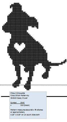 Pitbull silhouette  free cross stitch pattern