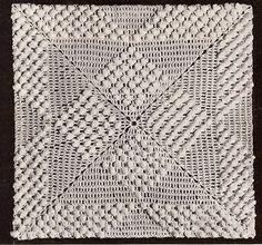 Vintage Crochet PATTERN MOTIF BLOCK Popcorn Bedspread